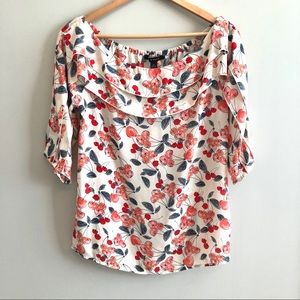 Zac & Rachel 3/4 Sleeve Cherry Off-Shoulder Top